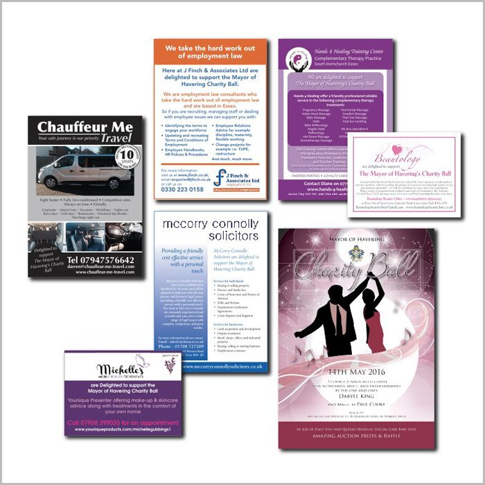 advertising design work charity ball