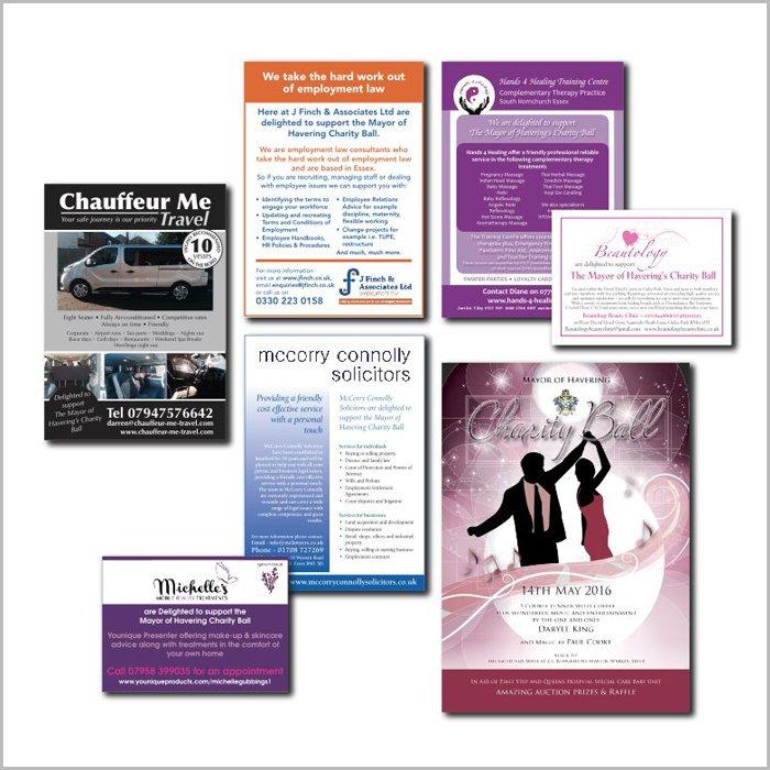 advertising design work charity ball