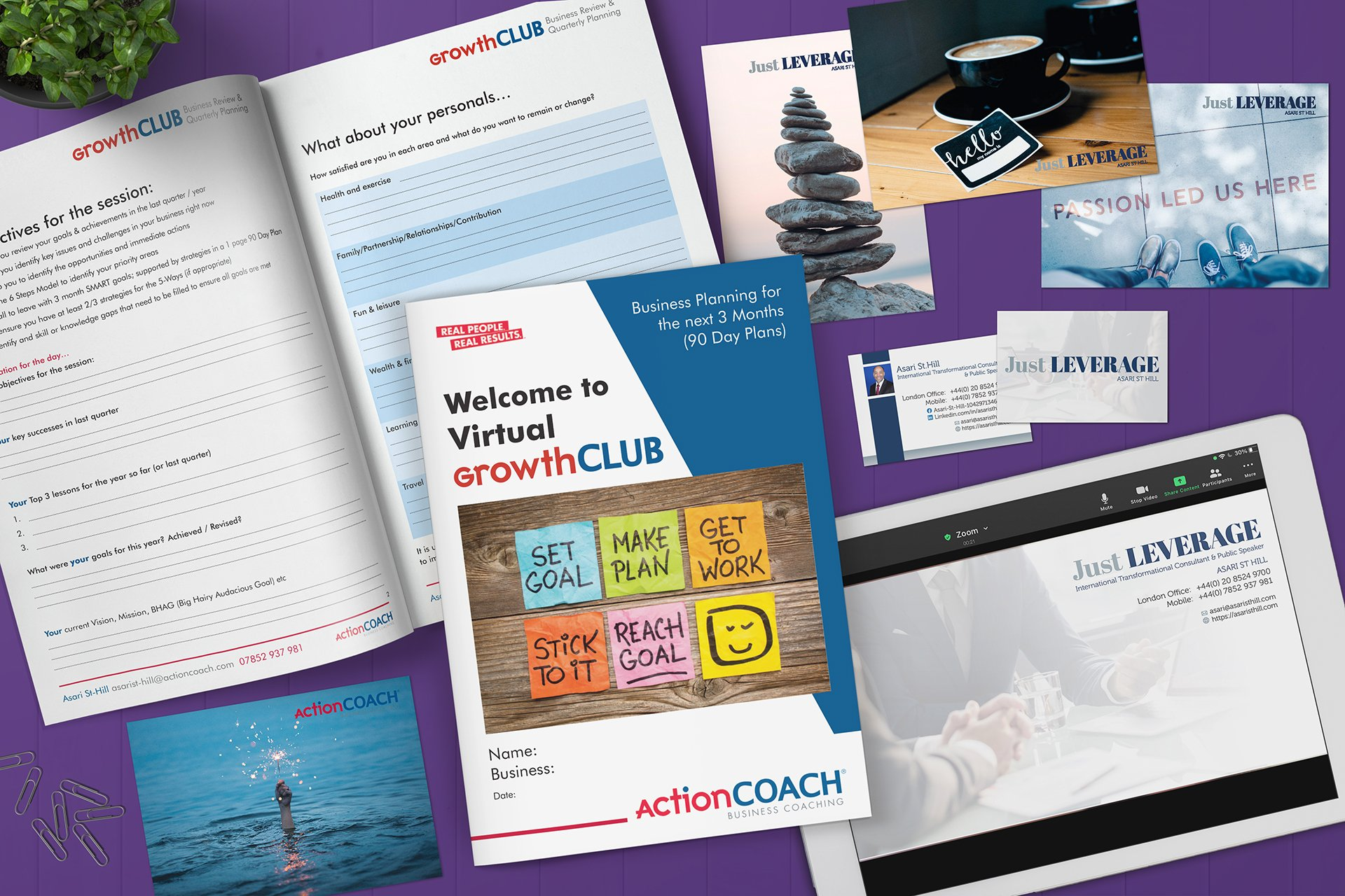Action Coach branded workbook marketing collateral